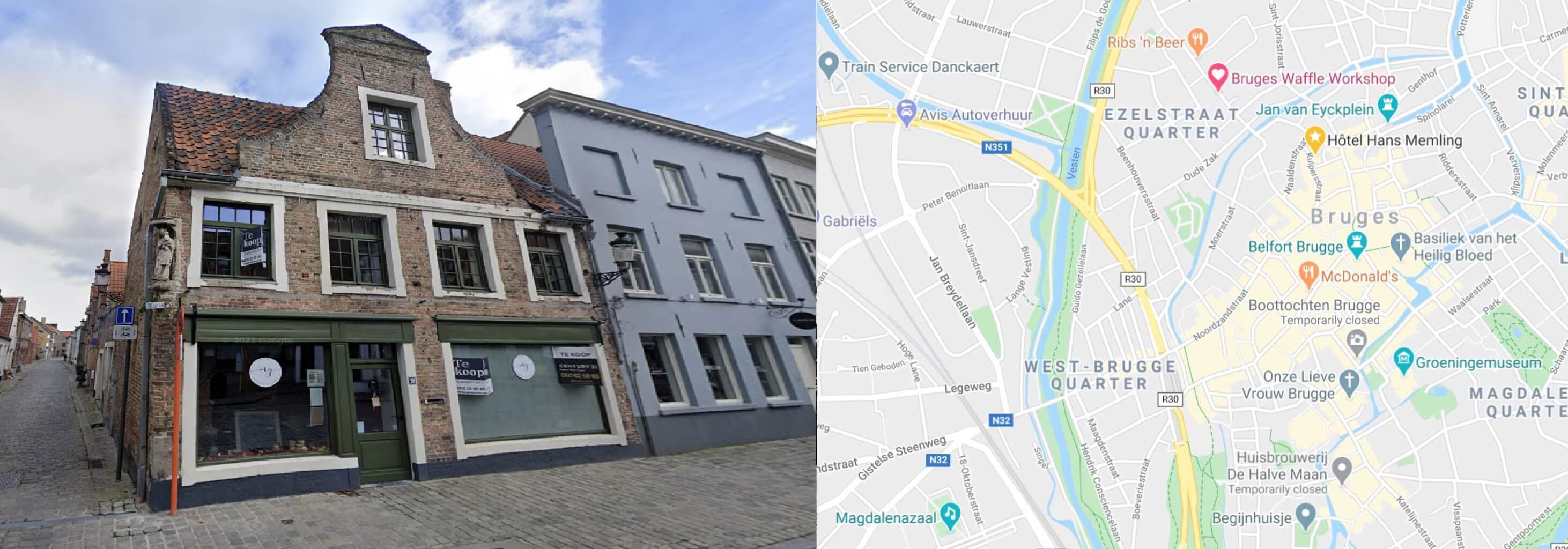 map and picture of the waffle workshop in Bruges, Belgium