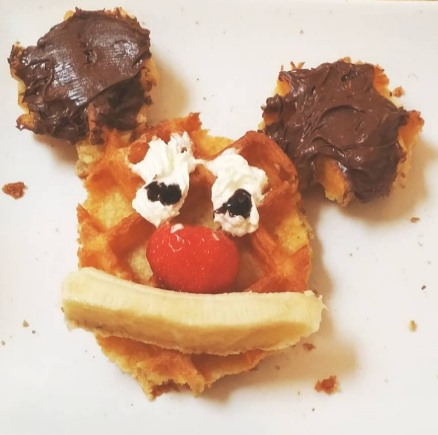 mickey mouse waffle with nutella in Brussels and bruges, Belgium