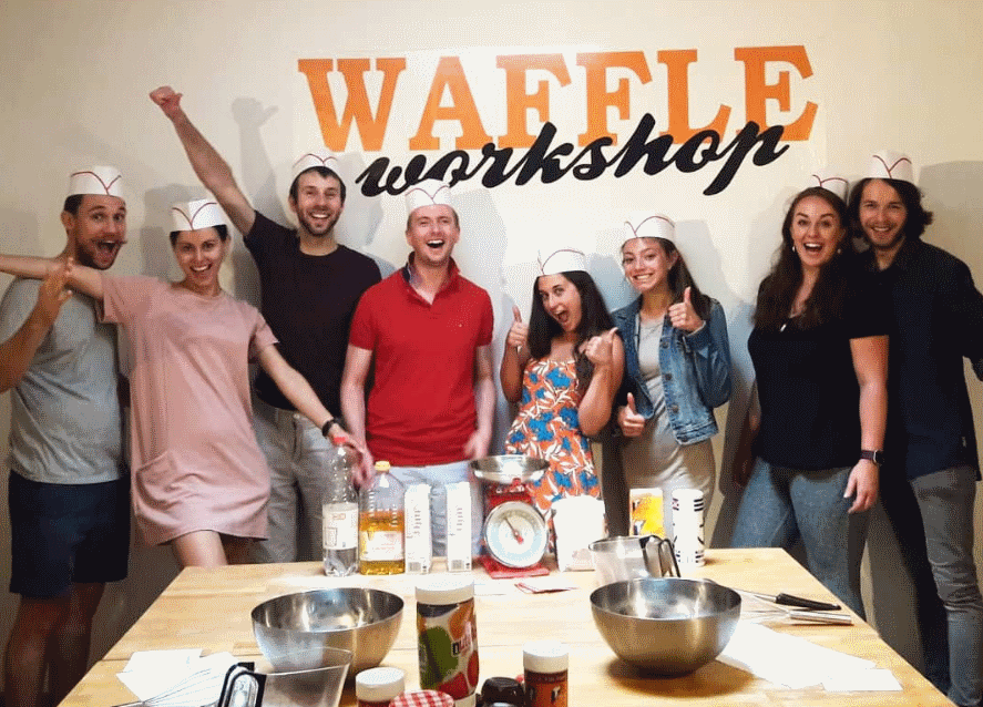 group of people at the waffle workshop